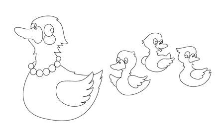 Madre Pato Con Tres Patos Bebé En El Estanque. Ilustración Del ...