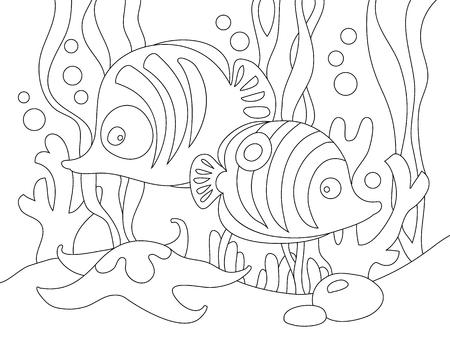Dos Peces De Dibujos Animados Lindo Bajo El Mar. Ilustración ...