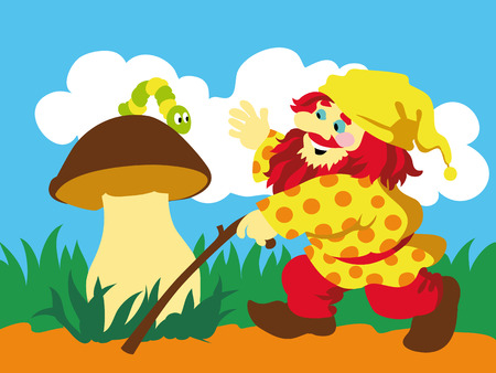 cep: Image of gnome and caterpillar on mushroom. Vector illustration.