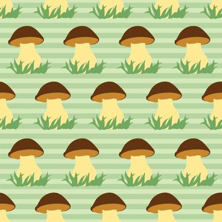 Seamless pattern with porcini on green striped background. Vector illustration. Illustration