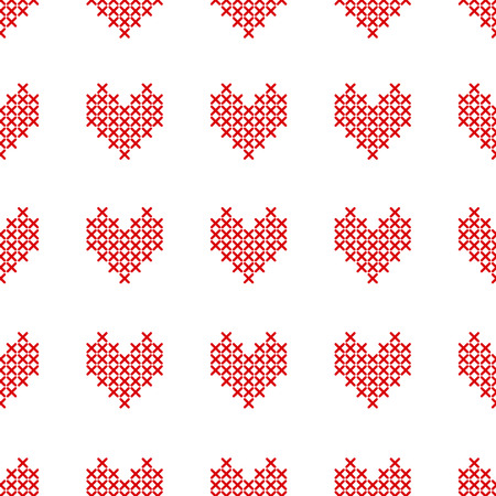 Seamless pattern with cross-stitch hearts on white. Embroidery style. Art vector illustration.
