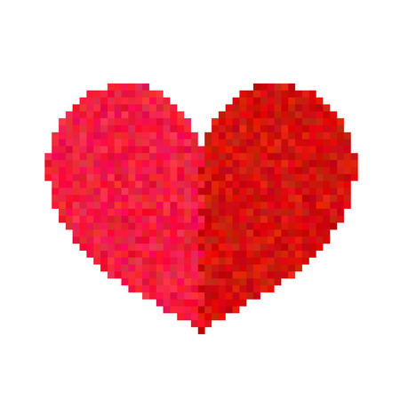 Pixel heart isolated on white background. Art vector illustration.