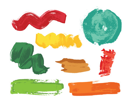 Set of colorful grunge brush strokes. Art Vector illustration.