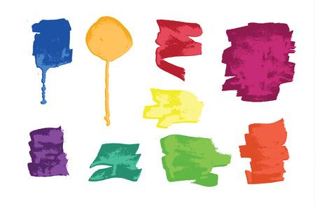 Set of colorful grunge brush strokes and splashes. Vector Illustration