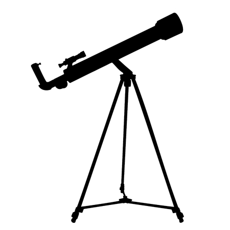 refracting: Silhouette of telescope isolated on white. Vector illustration.