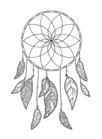 Hand drawn monochrome Dreamcatcher isolated on white background. Native American Indian talisman. Vector illustration. Illustration