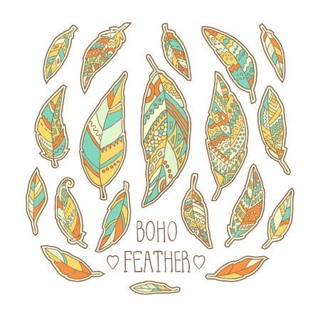 Set of hand drawn colorful feathers isolated on white background. Vector illustration. Illustration