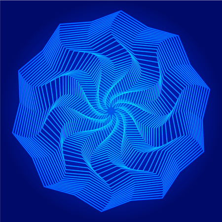 Abstract geometry blue mandala on dark background. Art vector illustration