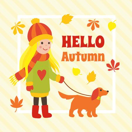 Autumn card with cute cartoon girl walking a dog. Art vector illustration