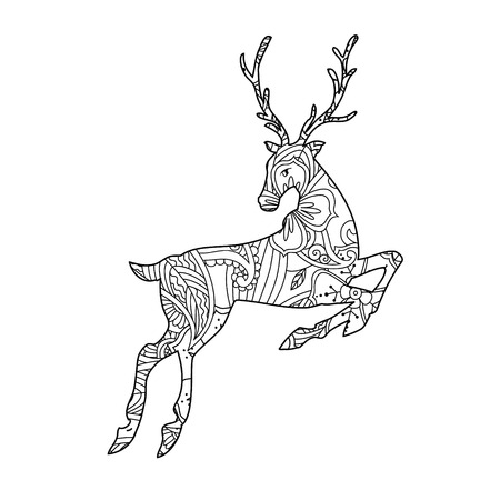 Coloring page with bohemian running deer isolated on white background. Book for adult and children. Editable vector illustration.