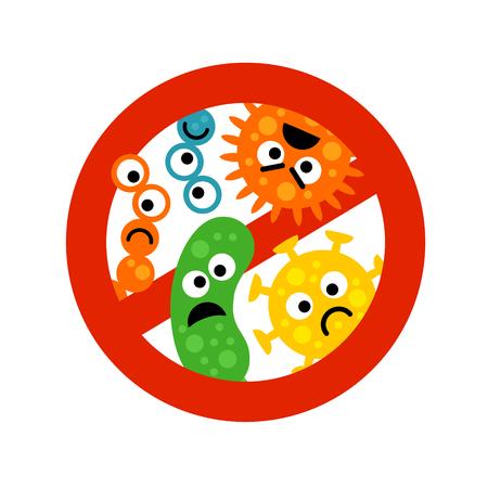 Stop bacterie teken met schattige cartoon edelstenen in vlakke stijl geïsoleerd op een witte achtergrond. Waarschuwingsringsymbool voor antibacteriële producten. Kunst vectorillustratie. Vector Illustratie