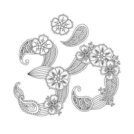aum: Om, or Aum sign lined with flowers and leaves in henna mehndi style isolated on white background. Symbol of Hinduism. Can be used like antistress coloring book for adult. Art vector illustration.