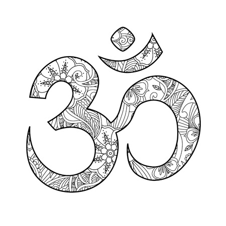 aum: Om, or Aum sign ornated in henna tatoo mehendi style isolated on white background. Symbol of Hinduism. Can be used like print or antistress coloring book for adult. Art vector illustration. Illustration