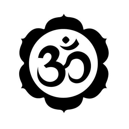 Om、またはオウム マンダラ サインイン円形ホワイト バック グラウンドに分離されました。ヒンドゥー教のシンボル。アートのベクトル図です。