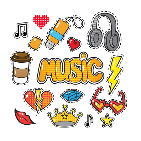 Set of fashion patch badges, stickers in comic style crown, headphones, coffee, heart, word Music, lips, cloud, star, note, gem isolated on white background. Art vector illustration Illustration