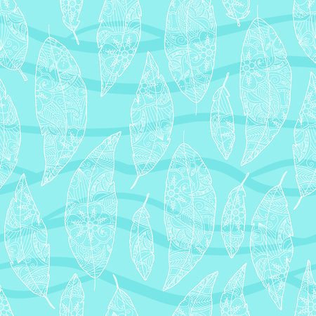 Seamless pattern of bird feathers with ornament inside isolated on white background. Blue and turquoise color. Art vector illustration. Illustration