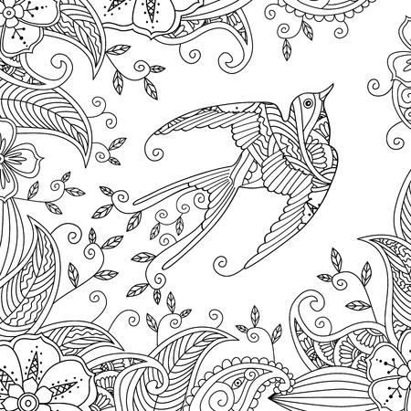 Dibujo Para Colorear Con Hermoso Pájaro Volador Y Fondo Floral ...