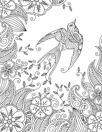 Coloring page with beautiful flying bird and floral background. Good quality coloring book for adult and children. Vertical composition. Editable hand drawn vector illustration. Illustration