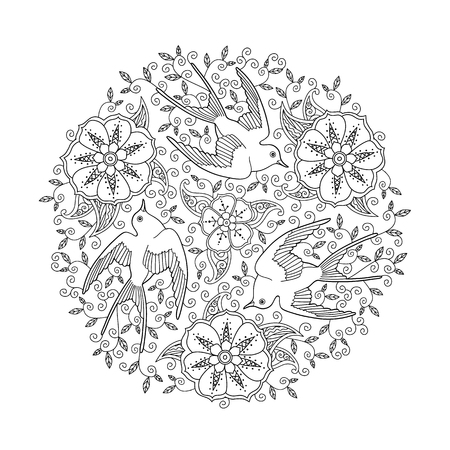 Mandala with three beautiful flying birds and floral background. Good quality coloring book for adult and children. Editable hand drawn vector illustration.