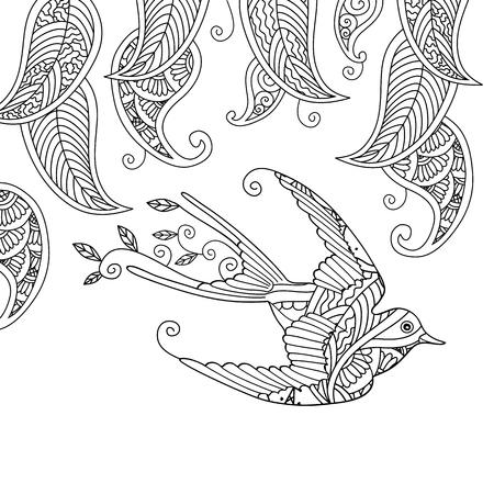 Página Para Colorear Con Hermoso Pájaro Volador Y Fondo Floral ...