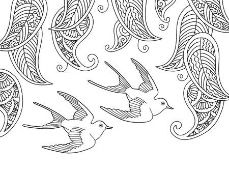 Página Con Dos Pájaros Y Hojas Del Sauce. Libro Para Colorear De La ...