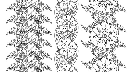 Set of three seamless pattern floral borders isolated on white background. Black and white hand drawn doodle style. Coloring book for adult and children. Editable vector illustration.
