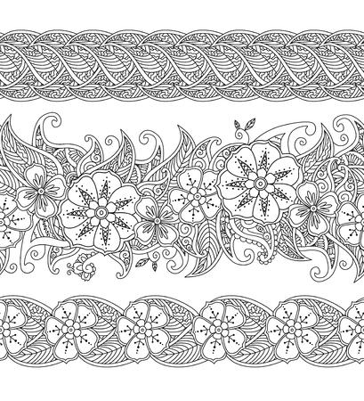 Dibujo Para Colorear - Violín Y Arco Con Flores Y Hojas En Estilo ...