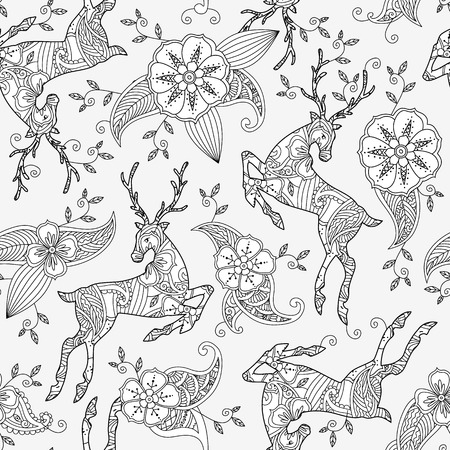japanese garden: Seamless pattern with running deer and floral motif hand drawn isolated on white background. Can be used for coloring book for adult and older children. Vector illustration. Illustration