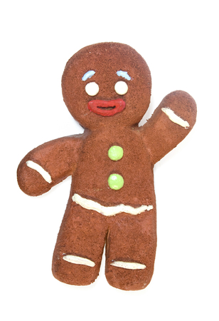 Happy Gingerbread man isolated on white background.