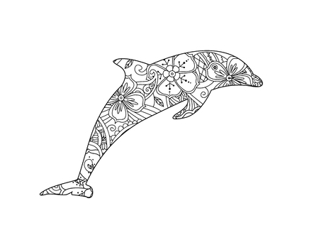 Coloring page with dolphin isolated on white background. oloring book for adult and older children. Editable vector illustration. Illustration