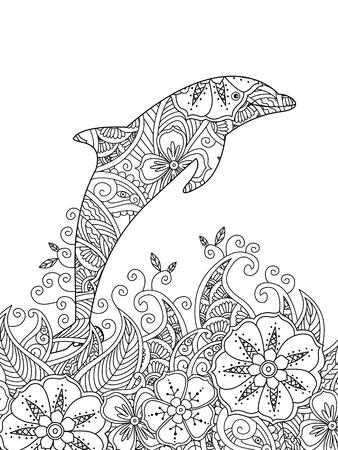 Volwassen Kleurplaten Hart.Dolfijn Kleurplaat Boek Voor Volwassenen Vector Interiorhalloween Co