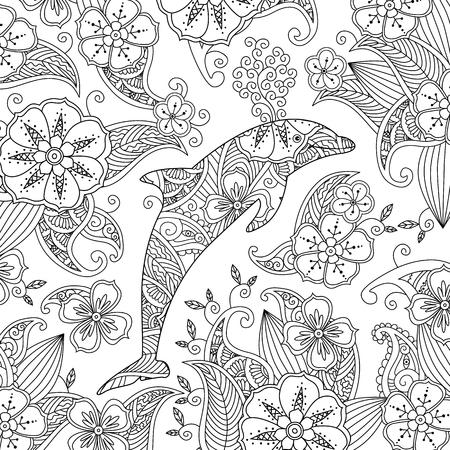 Malvorlage Mit Einem Sprungdelphin Auf Blumenhintergrund. Vertikale ...