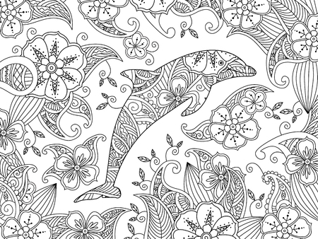 Coloring page with one jumping dolphin on floral background. Horizontal composition. Coloring book for adult and older children. Editable vector illustration. Ilustração