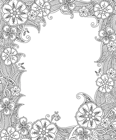 Floral Border Coloring Page Stock Photos And Images 123rf