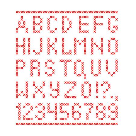 Geborduurd door kruissteek Engels alfabet met cijfers en symbolen geïsoleerd op een witte achtergrond. Vector illustratie. Stock Illustratie