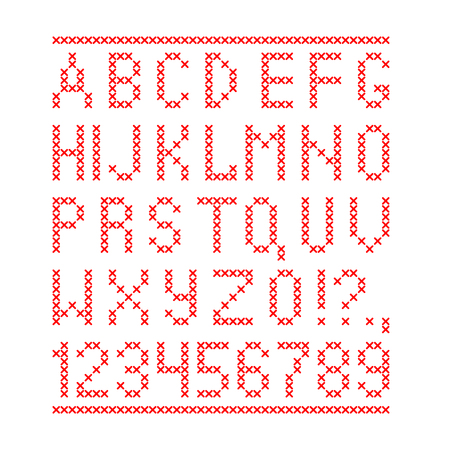 Embroided by cross stitch english alphabet with numbers and symbols isolated on white background. Vector illustration.