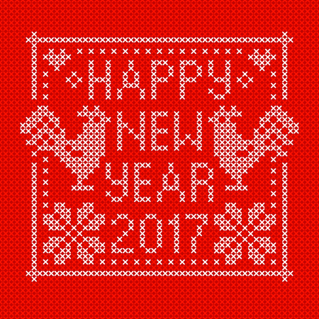 red cross red bird: Embroidery card with cross stitch embroidered roosters. White on red background. Christmas scheme design. Cocks - symbol of New Year 2017, heart and snowflake. Vector illustration. Illustration