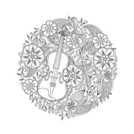 Coloring page with ornamental violin in circle shape on white background. Antistress coloring book for adult and children. Doodle, floral, nature style. Vector illustration.