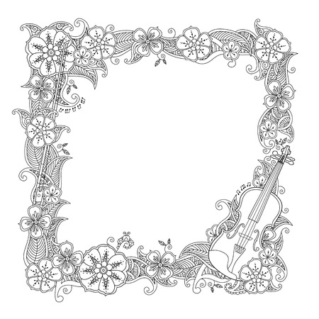 Coloring page - border, square frame with violin isolated on white background. Antistress coloring book for adult and children. Doodle, floral, nature style. Raster illustration.
