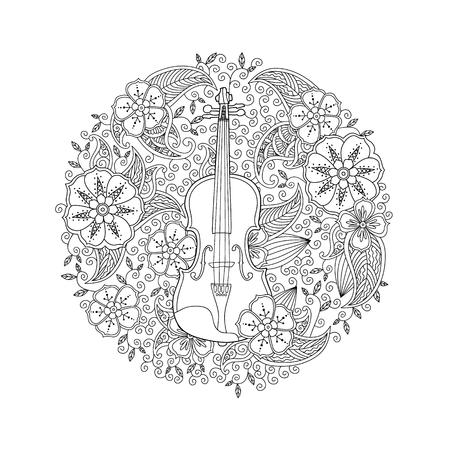 白い背景の円図形の装飾ヴァイオリンでページを着色します。大人と子供のための塗り絵抗ストレス。落書き、花、自然スタイル。ベクトルの図。