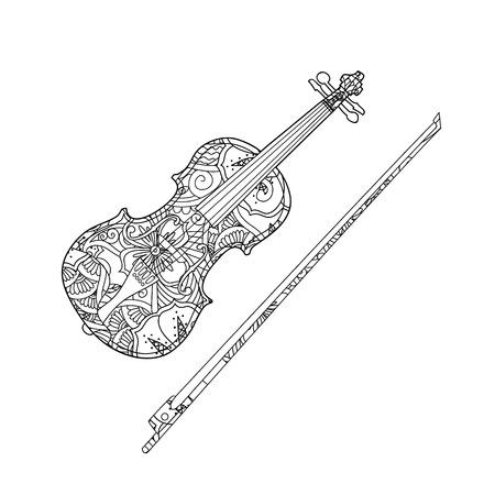 장식용 바이올린과 흰색 배경에 고립 된 fiddlestick 색칠 페이지. 성인과 아이들을위한 색칠하기 책. 벡터 일러스트 레이 션.