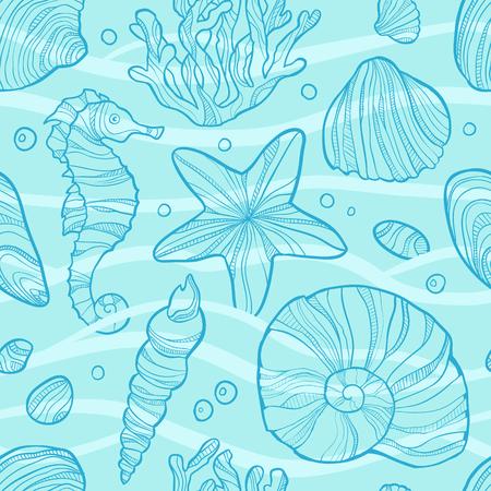 Seamless pattern with sea life. Art vector illustration.