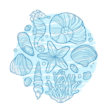 Hand drawn monochrome sketch of little scallop shell isolated on white background. Art vector stylized illustration. Illustration