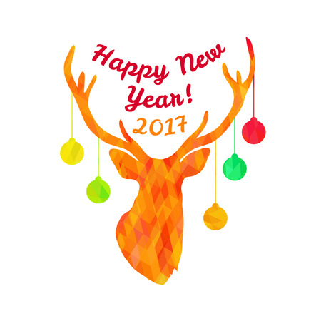Colorful textured sillhouette of deer head with christmas tree toys on horns and text Happy New Year 2017 isolated on white background. Art vector illustration.
