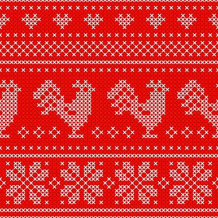 Red Holiday seamless pattern with cross stitch embroidered roosters. Christmas scheme design. Cocks - symbol of New Year 2017, heart and snowflake.