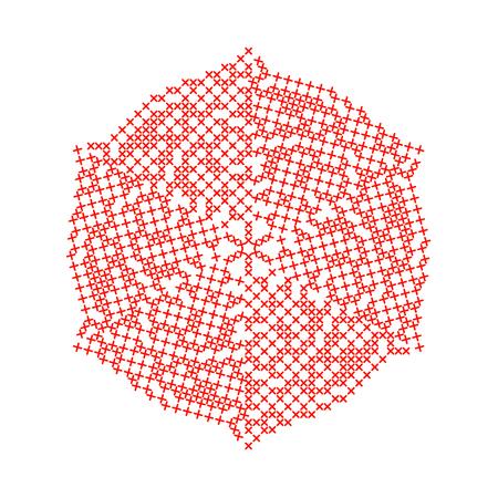 punto de cruz: Resumen de Navidad bordado copo de nieve aislado sobre fondo blanco. Ilustración del vector del arte.