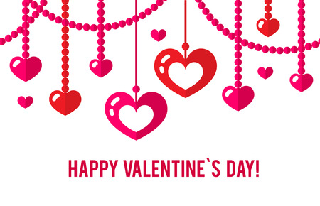 Happy valentines day card with red flat heart seamless garland isolated on white background. Art vector illustration. Illustration