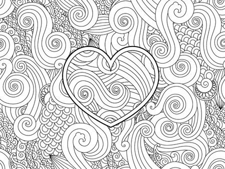 Kleurplaten Voor Volwassenen Liefde.Kleurplaat Met Hart En Abstracte Geisoleerd Element Happy