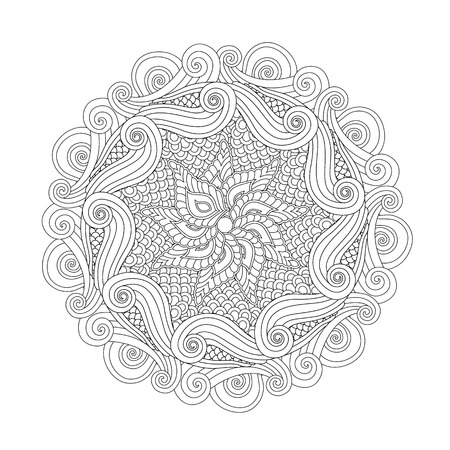 Graphic Abstract Mandala. inspired style. Coloring book page for adults and older children. Art vector illustration Ilustração