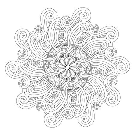 Graphic Mandala with waves and curles. inspired style. Coloring book page for adults and older children. Art vector illustration
